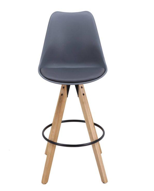 Chaise de Bar Design piétement chêne Gris CLEO