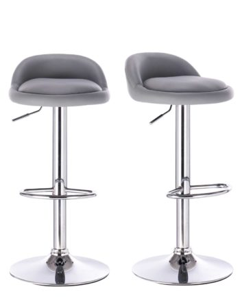 Tabourets de bar reglable - chrome et pu - Gris clair - SATI