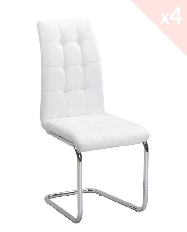 Chaises salle à manger - Lot de 4 chaises confort Blanches - Kayelles
