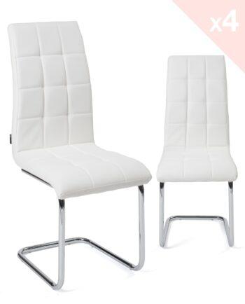 Lot de 4 chaises Salle à manger matelassées Blanc - Maxi Kayelles