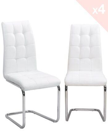 Lot de 4 chaises de salle à manger - blanc - MAXI - Kayelles