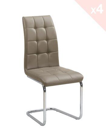 Lot de 4 chaises de salle à manger - matelassées - cappuccino - MAXI - Kayelles