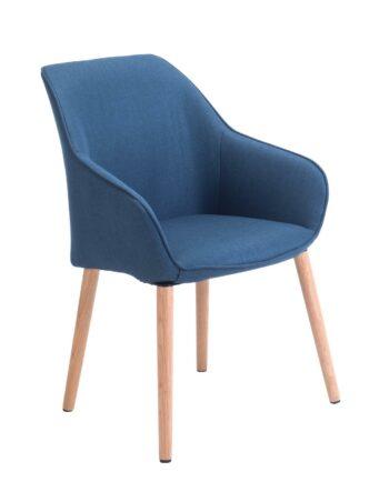 Chaise à accoudoirs piétement Chêne - Bleu Corse - DITA KAYELLES