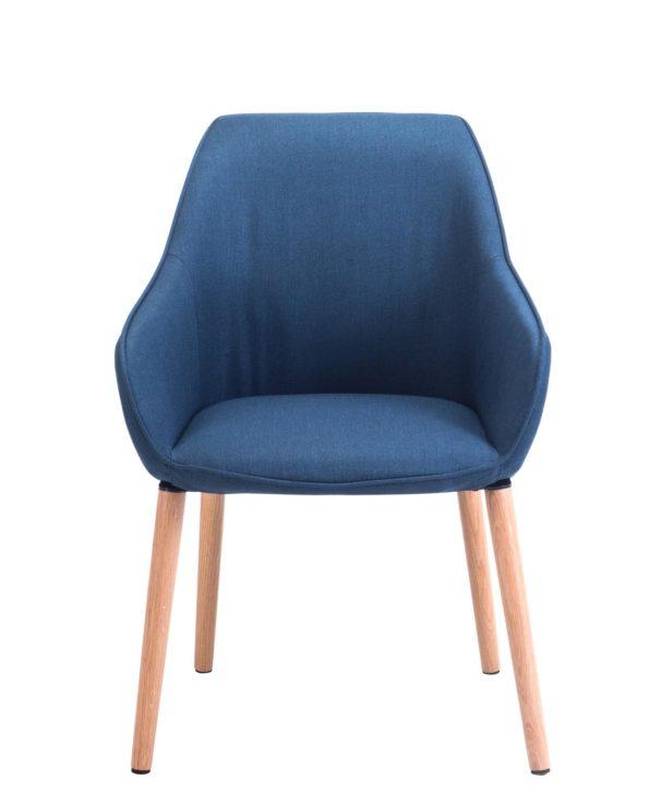 Chaise à accoudoirs piétement Chêne - Bleu Corse - DITA