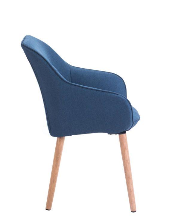 DITA - Chaise à accoudoirs piétement Chêne - Bleu Corse