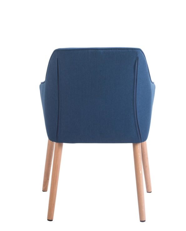 Chaise à accoudoirs piétement Chêne - Bleu Corse