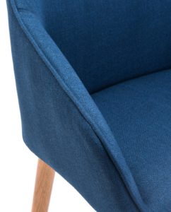 Chaise Scandinave piétement Chêne - Bleu Corse