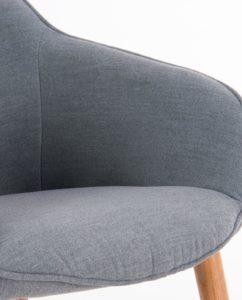 Chaise à accoudoirs piétement Chêne - Gris Chiné