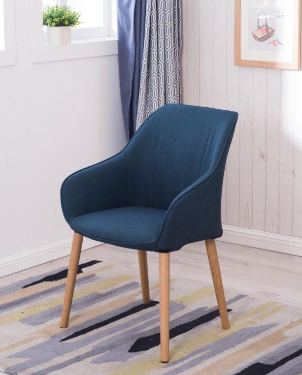 DITA - Chaise à accoudoirs piétement Chêne - Bleu Corse - KAYELLES