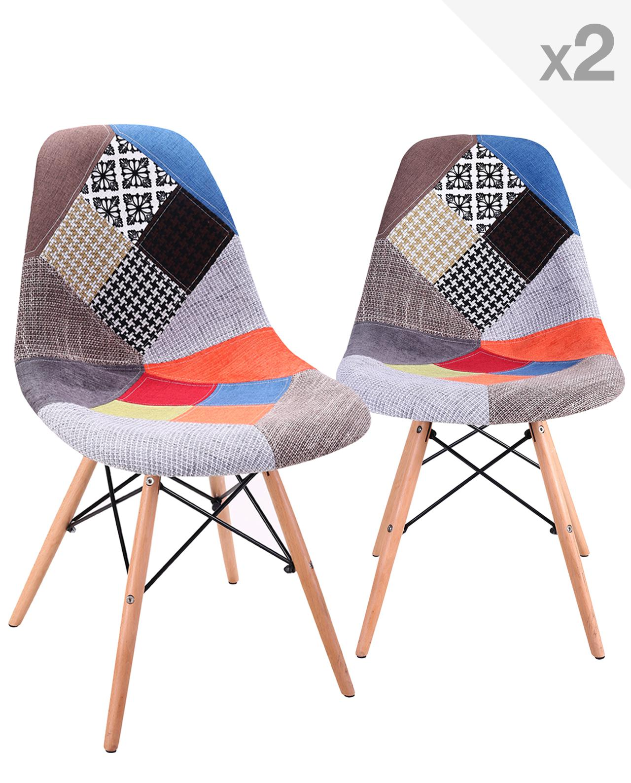 Nadir lot de 2 chaises dsw design scandinave patchwork for Chaise patchwork