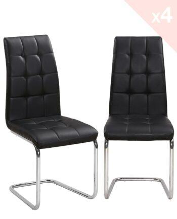 Lot de 4 chaises de Salle à Manger Matelassées - Lot de 4 - Noir