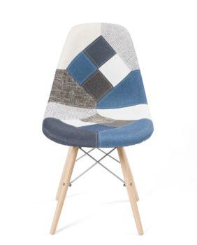 chaises design scandinave patchwork bleu - NADIR kayelles