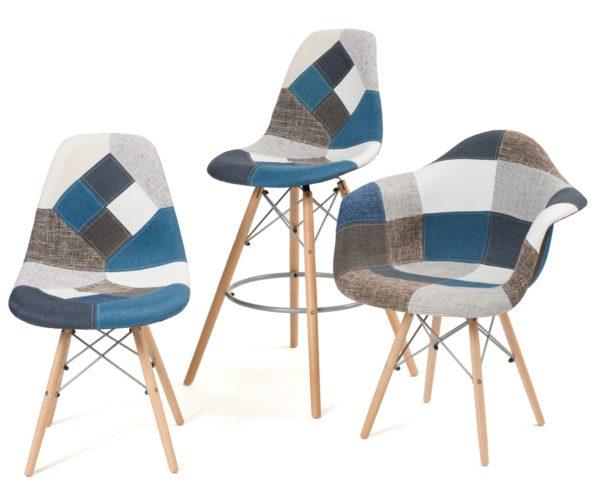 chaises-patchwork-bleu-tabouret-patchwork-bleu-design-scandinave-Kayelles