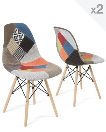 Chaises Scandinaves Patchwork - NADIR - Lot de 2 - Kayelles