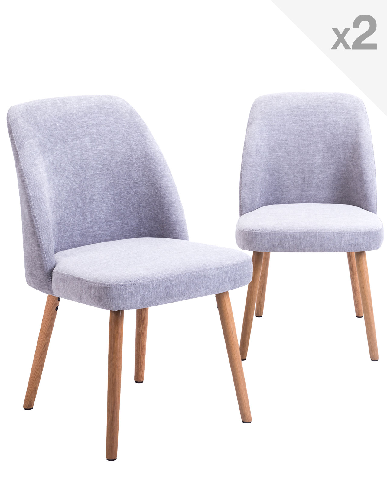 Lot de 2 chaises scandinave pi tement ch ne dima for Chaise salon contemporaine