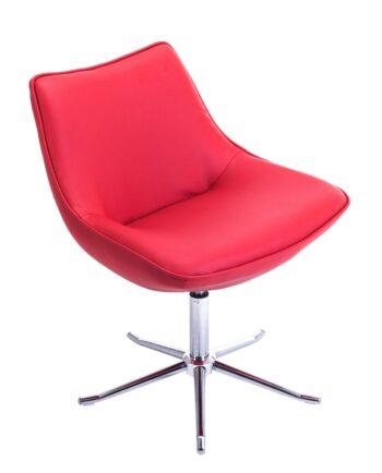 Fauteuil Lounge Design Pietement Metal - Rouge - DON KAYELLES