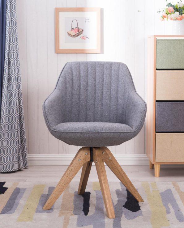 Chaise Design scandinave pivotante - DUNE - KAYELLES(Gris Flanelle)