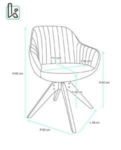 Chaise Design scandinave pivotante - Taille