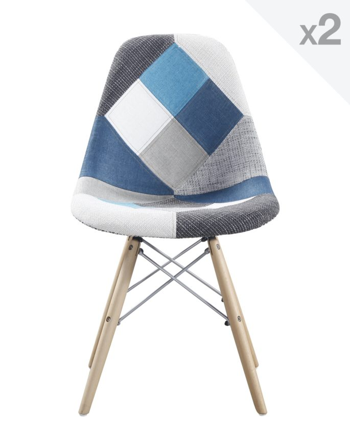 Nadir lot de 2 chaises dsw design scandinave patchwork for Chaise scandinave patchwork bleu