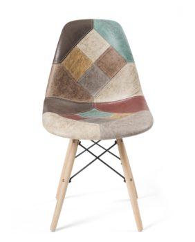 Kayelles chaise Patchwork Marron cuir DSW - NADIR