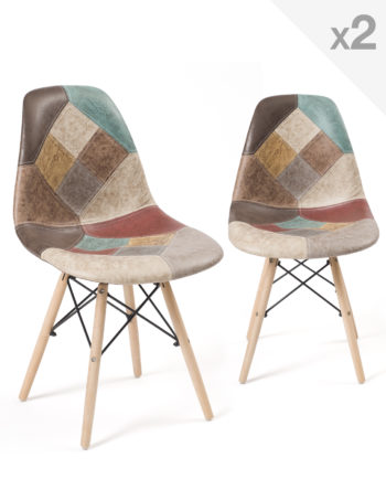 Lot de 2 chaises Patchwork marron - Kayelles