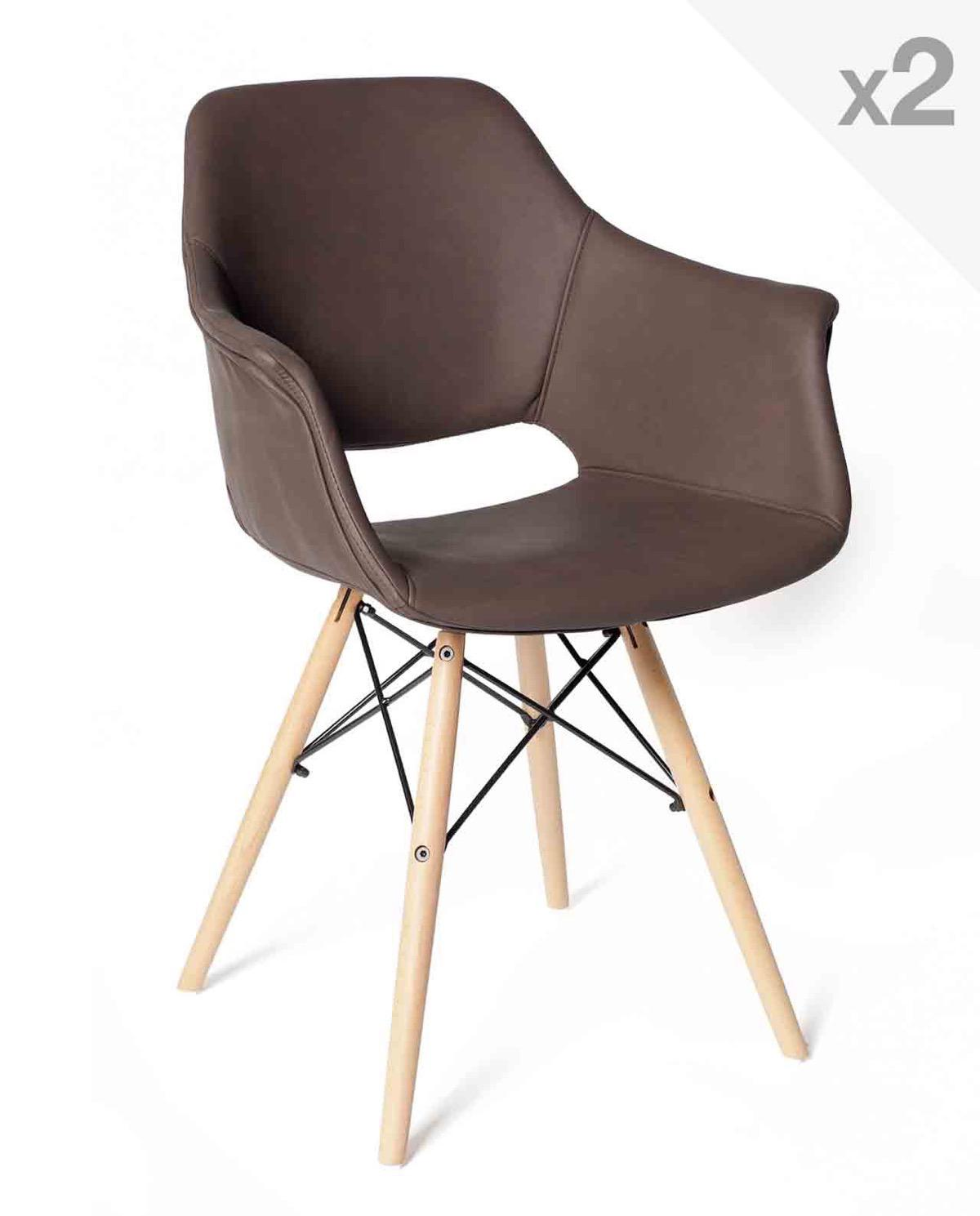 soho lot de 2 chaises scandinave avec accoudoirs kayelles marron - Chaise Scandinave