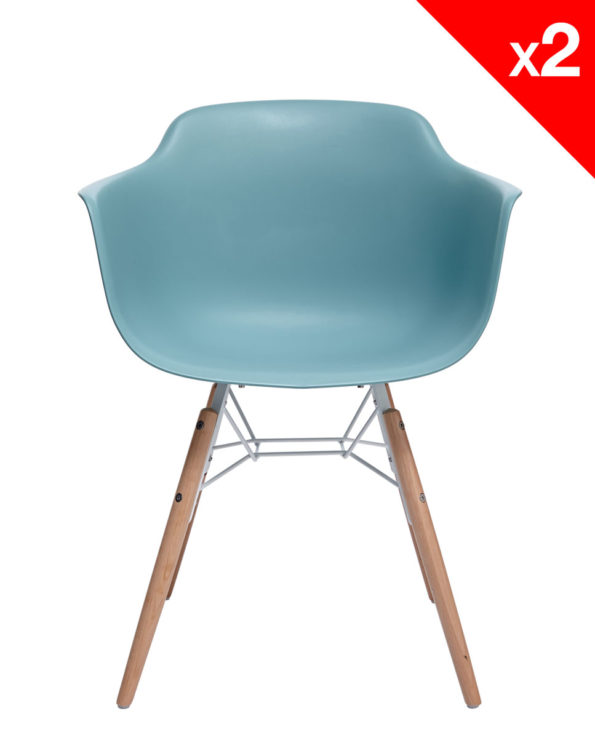 KUTA Lot de 2 chaises design DAW eames - Bleu Surf