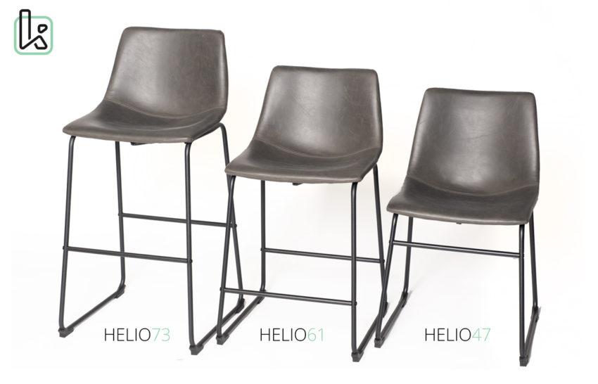 Chaise de bar vintage ndustriel - Tabouret de cuisine HELIO - Kayelles - Gris