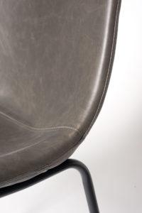 chaise de cuisine industriel metal et cuir - HELIO47 - Kayelles - gris