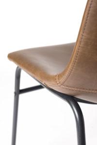 chaise de cuisine industriel metal et cuir - HELIO47 - Kayelles - marron