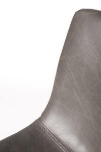 chaise de cuisine vintage metal et cuir - HELIO47 - Kayelles - gris