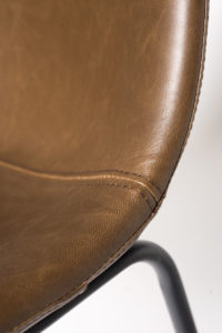 chaise de cuisine vintage metal et cuir - HELIO47 - Kayelles - marron
