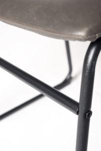 chaise de cuisine vintage industriel metal et cuir - HELIO47 - Kayelles - gris