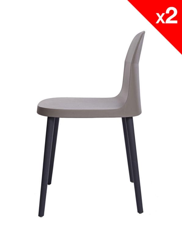 SANTI Lot de 2 chaises design Intérieur / Extérieur - KAYELLES - Grises