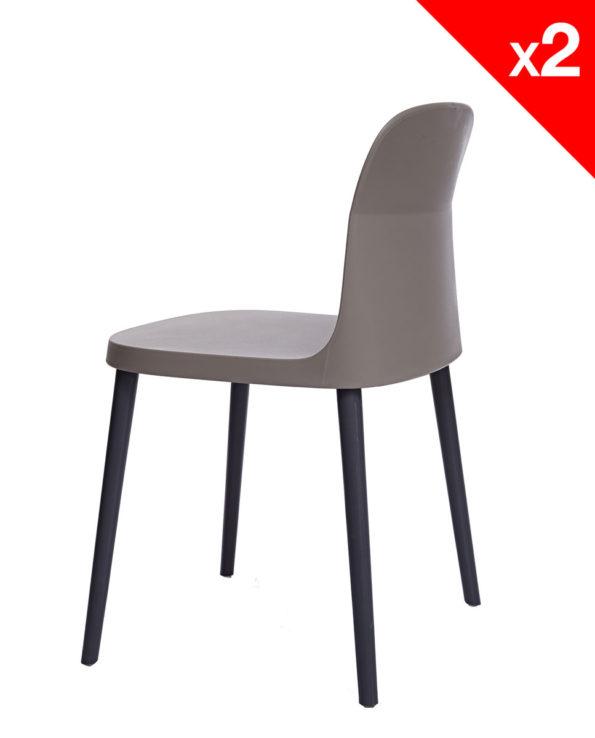SANTI Lot de 2 chaises design Intérieur / Extérieur - KAYELLES - Gris