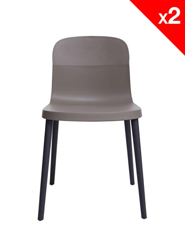SANTI Lot de 2 chaises design Intérieur / Extérieur - Cuisine - Jardin - Gris