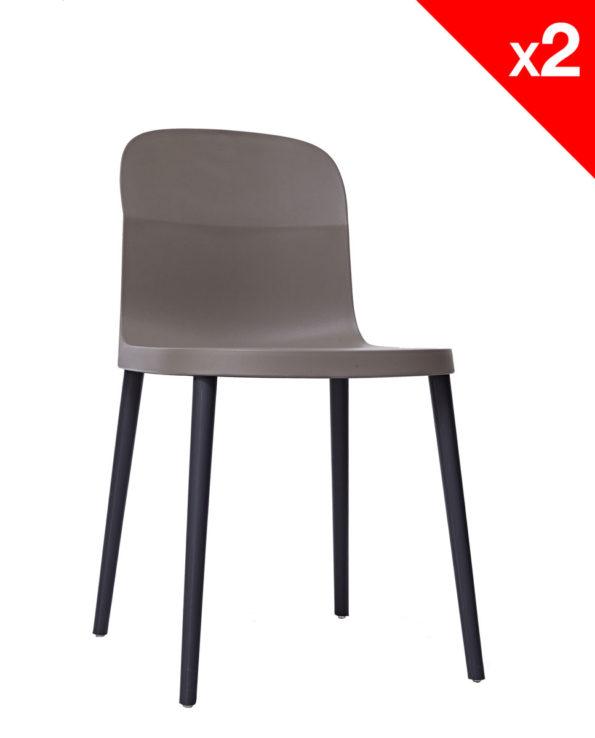 SANTI Lot de 2 chaises design Intérieur / Extérieur - Gris