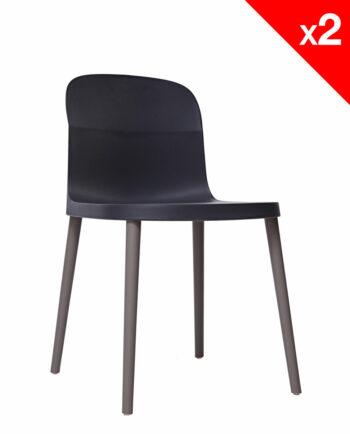 SANTI Lot de 2 chaises design Intérieur / Extérieur - Noir