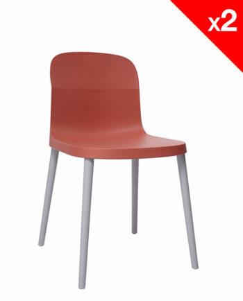 SANTI Lot de 2 chaises design Intérieur / Extérieur - Safran