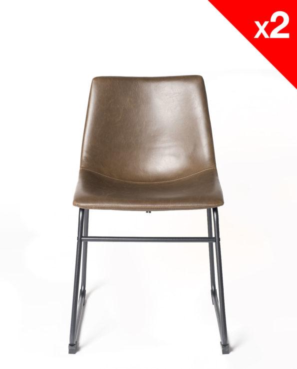 chaise de cuisine vintage industriel - HELIO 47 PU Marron - kayelles