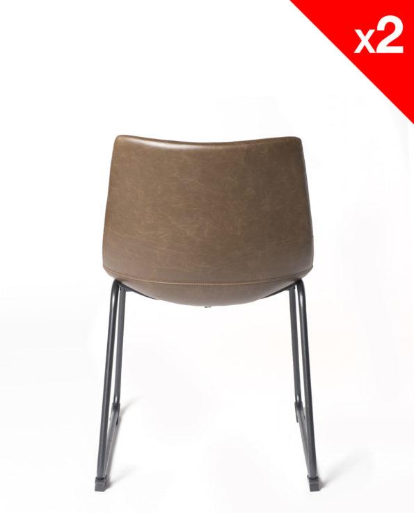 chaise de cuisine vintage industriel - HELIO 47 pietement metal et PU Marron - kayelles