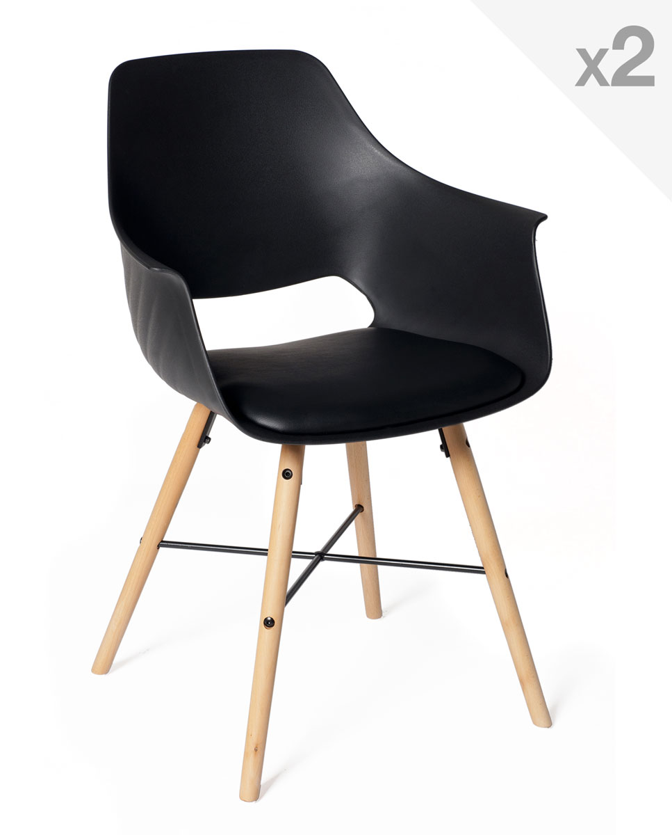 Lot de 2 chaises design scandinave avec coussin tao for Chaise noir design