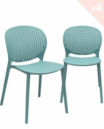 GOA Lot de 4 Chaises Moderne Intérieur / Extérieur - Bleu Surf