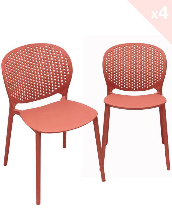GOA Lot de 4 Chaises Moderne Intérieur / Extérieur - Orange