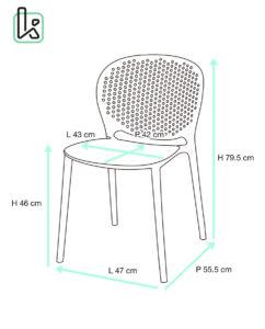 lot de 4 chaises moderne - GOA - Kayelles