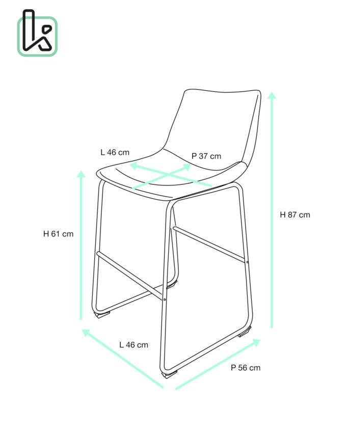 Lot de 2 chaises de bar vintage pi tement m tal helio61 for Chaise 87 cm