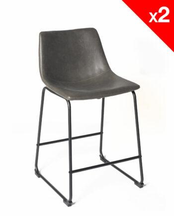 chaise de bar vintage industriel - HELIO61 PU Gris