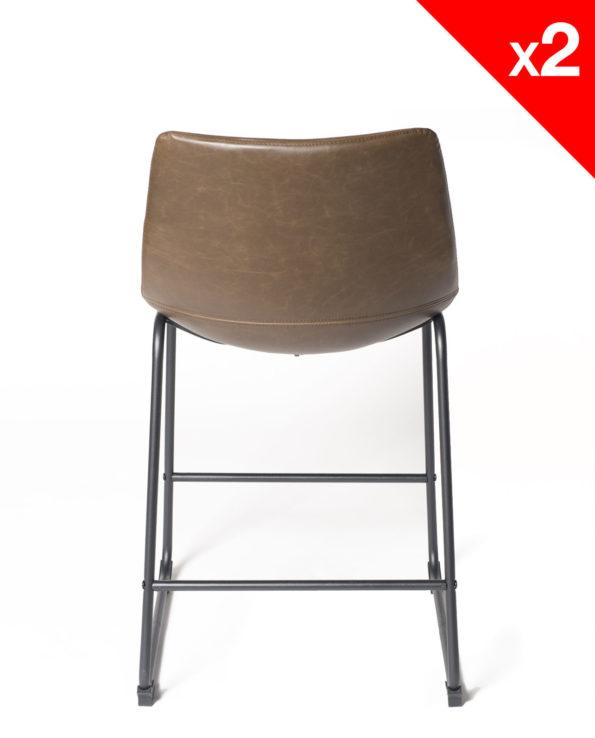 chaise de bar vintage industriel - HELIO61 PU Marron - Kayelles