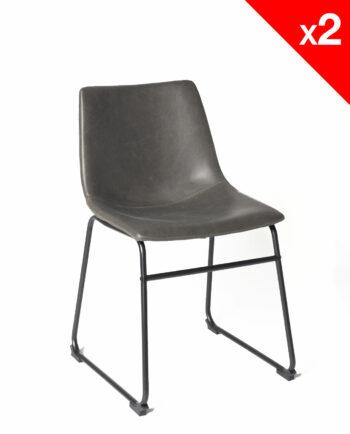 chaise de cuisine vintage - HELIO47 PU Gris - kayelles