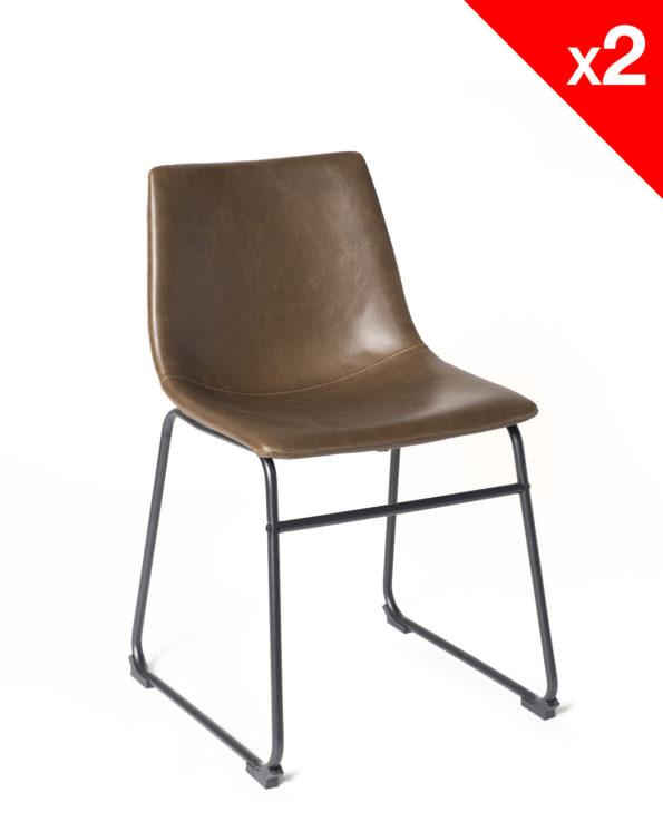 chaise de cuisine vintage - HELIO47 PU Marron - kayelles